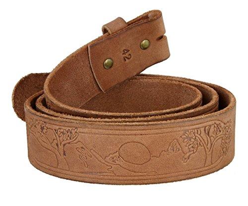 Tree of Life Genuine Full Grain Leather Belt Strap for Men(Brown, (Full Strap)