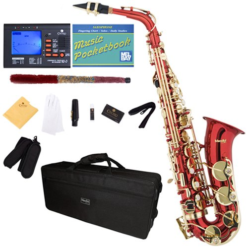 Mendini by Cecilio MAS-RL+92D+PB Red Lacquer E Flat Alto Saxophone with Tuner, Case, Mouthpiece, 10 Reeds and More