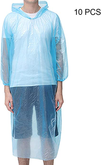 100PC Disposable Adult Emergency Waterproof Rain Coat Poncho Camping Hood XI