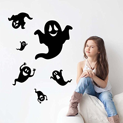 MAZIMARK--Cartoon Ghost Halloween Black Living Room Removable Decal Decor Wall Sticker Art