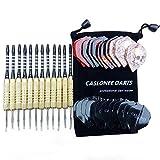 CASLONEE 12/Pack Steel Tip Darts Set 18 Grams with PET Flights, Aluminum Shafts and Brass Barrels