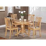 East West Furniture ANAV5-OAK-W 5-Piece Round Kitchen Table Set, Oak Finish