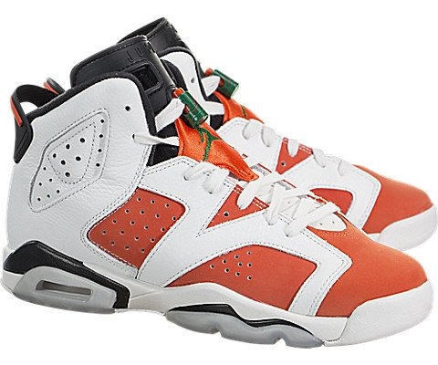 Jordan Air 6 Retro Big Kids' Basketball Shoes Summit White/Team Orange-Black 384665-145 (4.5 M US)