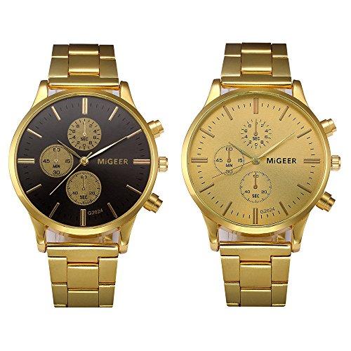 Classic Luxury Watches for Men, Stainless Steel Luminous Quartz Watch Fashion Casual Business Dress Wristwatch (Black)