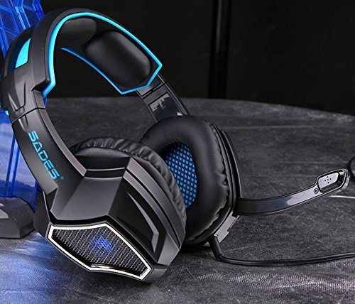 New Updated SADES Spirit Wolf 7.1 Surround Stereo Sound USB ComputerGaming Headset with Microphone,Over-The-Ear Noise…
