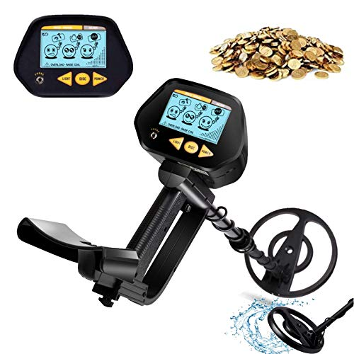 INTEY Metal Detector with Waterproof Search Coil, High Precision, LCD Screen with Headphone Jack, DISC Mode for Detecting Gold, Beach Treasure