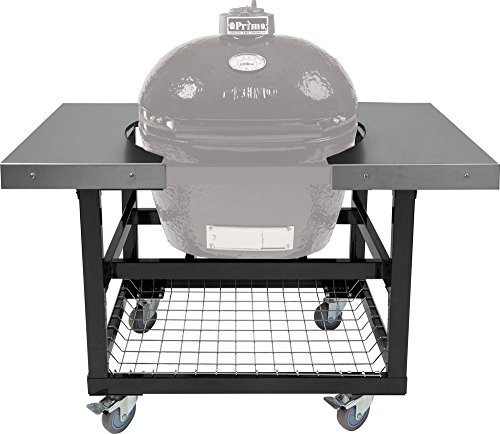 Cart with Basket and SS Side Shelves for Oval LG 300 XL 400 by Primo Ceramic Grills