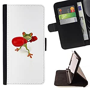 For Samsung Galaxy S4 Mini i9190 (NOT S4) Case , Guantes Campeón Blanco Rana Lucha- la tarjeta de Crédito Slots PU Funda de cuero Monedero caso cubierta de piel