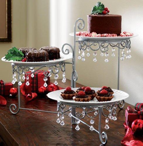 Beaded 3 Tier Silvertone Swivel Server Dessert/CAKE SNACK STANDARD ()