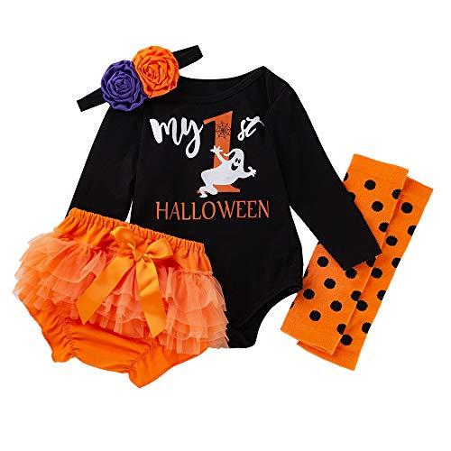 My First Halloween ClothesNewborn Baby Girl Long Sleeve Romper+Bowtie Shorts+Headband and Leg Warmer 4Pcs Outfit Set ()