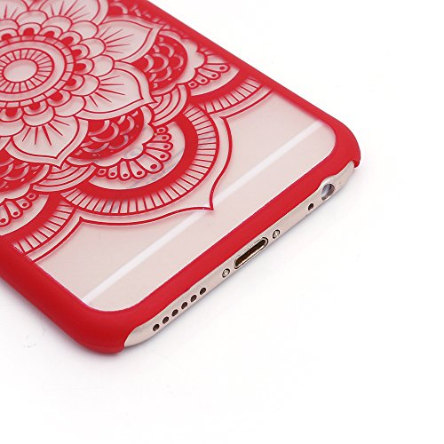 iProtect TPU Schutzhülle Apple iPhone 6, 6s Hard Case - transparente Hülle im Mandala - red Rose - Design