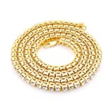 "Powerful Mens Necklace Diamond Hip-Hop Gold Tone Necklace Chain 20"", 24"", 30"" Inches"