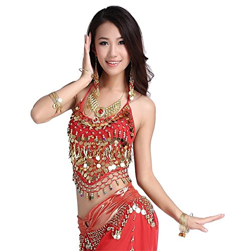 Belly Dance Chiffon Peppers Tops Dancing Tribal Coins+Bells Bra Costume Red (Red Belly Dancing Costume)