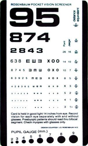 Amazon Pocket Size Plastic Eye Chart 6 38 X 3 Health