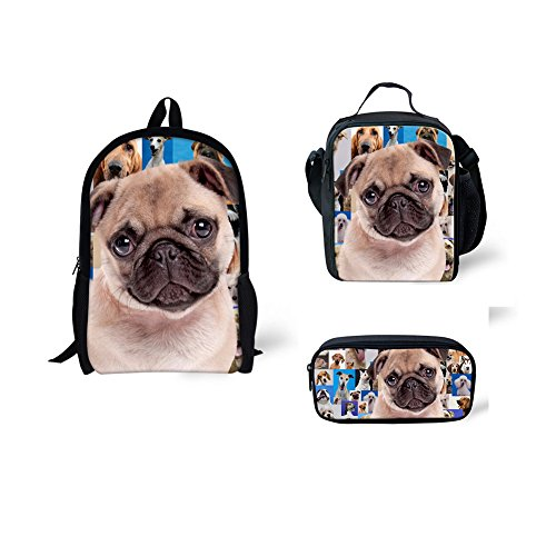 - CHAQLIN Pug Poodle Backpack Campus Book Bags for Girls Boys with Lunch Bags Pencil Bag Satchels 3pcs