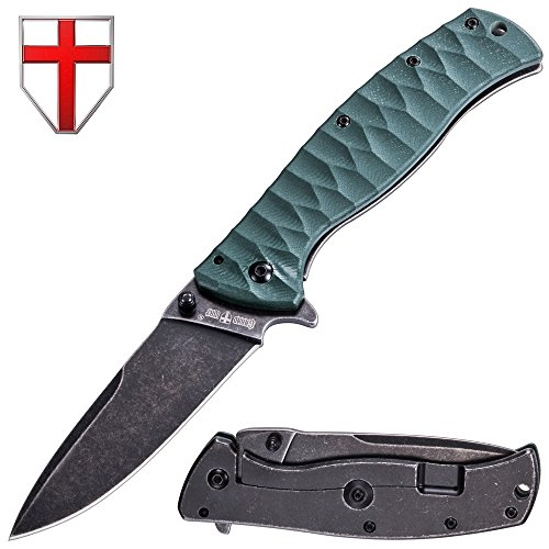Pocket Folding Knife - EDC and Tactical Classic Knives Stainless Steel Blade with Green G-10 Handle - Best Urban Tourist Knife for Travel Hiking Survival - Grand Way 01305 by Grand Way