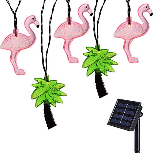(Tropical Style Solar String Light Flamingo Palm Tree 10LED Summer Patio String Lights Decoration Solar Operated for Outdoor Home,Garden,Xmas Tree,Party(Flamingos and Coconut Trees String Lights))