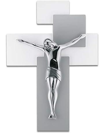 CROCIFISSO da Parete 27X19 Moderno Legno Tortora Cristo MARMORINO Bianco ME12102NB