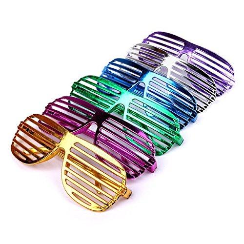 S/O, 6 divertenti occhiali a righe, per feste, metallizzati, 6 colori assortiti Schramm-Onlinehandel