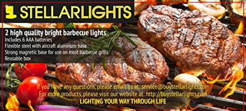BRIGHT EYES Magnetic Barbecue BBQ Light Set For Grilling  6 Alkaline AAA  Batteries Included.