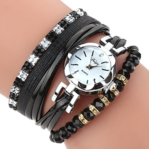 Multi Gemstone Watch (BEUU Lady'S Simple Dial Watch Quartz Bracelet Watches Women Popular Quartz Watch Luxury Bracelet Flower Gemstone Wristwatch (Black))