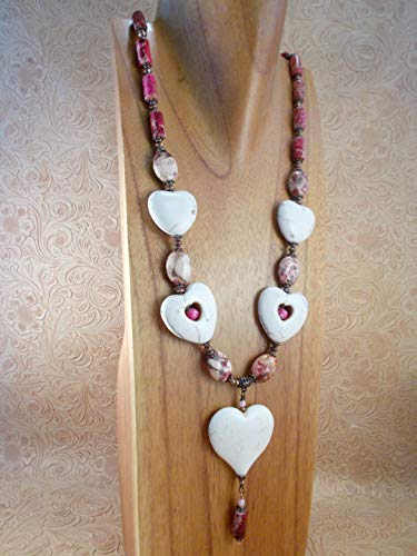 (Western Cowgirl Necklace Set - White Howlite Hearts with Ruby Pink Jasper - Long)