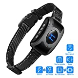 Benuo Rechargeable Bark Stop Collar Pet Dog Anti-bark Training Collar Smart Detection IPX7 Waterproof Reflective with Sound Vibration Shock Modes 3 Sensitivity Auto-protection Mode