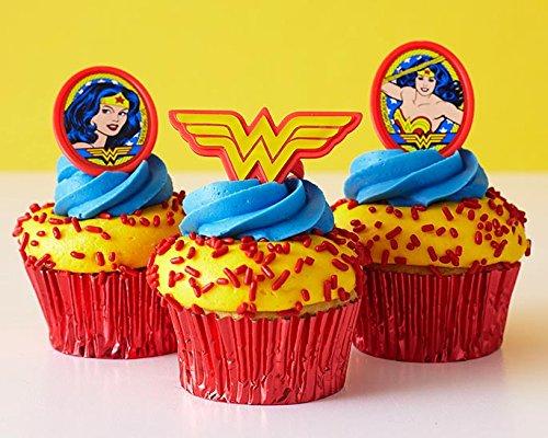 (24) Wonder Woman Cupcake Rings Kit - (24) Wonder Woman Symbol Lasso Star Toppers (30) Red Foil Cupcake Liners (3.2 oz) Red Jimmies ()