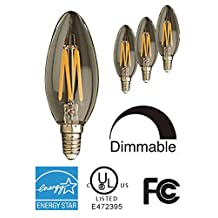 STRAK 6PK Filament LED B10 Candelabra Light Bulbs, 30000K Warm White, Dimmable, 6W, Replacement for 60W Halogen Lamp, CUL/Energy-Star