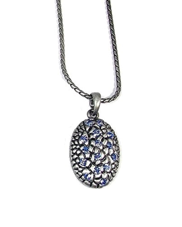 Oval cristal azul diamante acabado en plata envejecido vintage collar colgante cadena disfraz regalo joyas