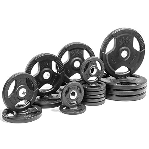 XMark Premium Quality Rubber Coated Tri-grip Olympic Plate Weights – Sold in Sets – Sports Center Store