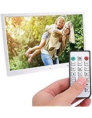 17 inch digitale fotolijst Draagbaar LED-display Foto / muziek / videospeler Kalenderwaarschuwing Automatische aan / uit-timer, HDMI-filmspeler Fotolijst Ondersteuning 32G SD-kaart, afstandsbediening (wit)