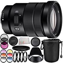 Sony E PZ 18-105mm f/4 G OSS Lens 10PC Bundle - Includes 3 Piece Filter Kit (UV + CPL + FLD) + 4PC Macro Filter Set (+1,+2,+4,+10) + 6PC Graduated Filter Kit + MORE