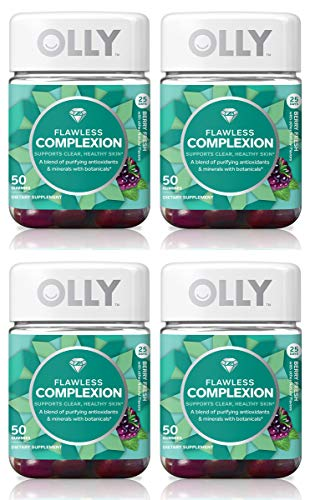 Olly FEQUGNVD Flawless Complexion Gummy Supplement, with antioxidants; Berry Fresh, 4 Pack, (Total 200 Count)