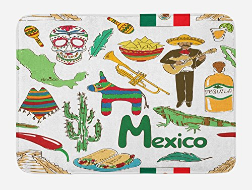 Lunarable Mexican Bath Mat, Fun Colorful Sketch Artful Mexico Chili Pyramid Nachos Cactus Music Poncho Pattern, Plush Bathroom Decor Mat with Non Slip Backing, 29.5 W X 17.5 W Inches, Multicolor by Lunarable