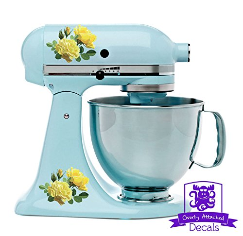 Yellow Roses Kitchen Stand Mixer Appliance Decal Front/Back Vinyl Decal Set - Full Color