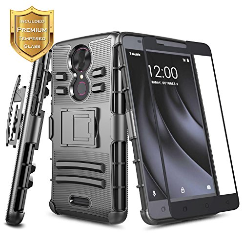 T-Mobile REVVL Plus Case with [Full Cover Tempered Glass Screen Protector], NageBee [Heavy Duty] Shock Proof [Belt Clip] Holster [Kickstand] Combo Case for (T-Mobile) REVVL Plus (6 inch) (Black) (T-mobile Clip)