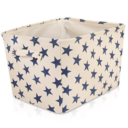 White Star Canvas Storage Basket Box for Household Storage with Blue Stars. 16.5in x 12.5in x 7.5in