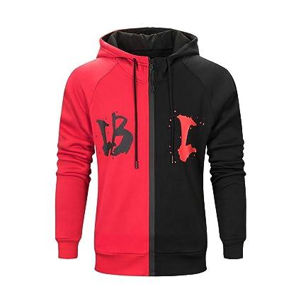 LuckyGirls Abrigos Otoño Invierno con Capucha para Hombre Color de Mezcla Chaquetas de Deportivas Parka Jacket