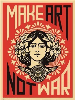 Laminated Make Art Not War Shepard Fairey Vintage Print Poster