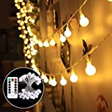 Battery Powered Fairy Lights, 50 LED Globe String Lights with Remote & Timer, 8 Modes, Waterproof Decorative Light for Indoor Outdoor Valentine Christmas Party Wedding Garden,18ft Warm White