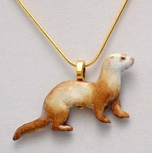 Chocolate sable ferret necklace (738)