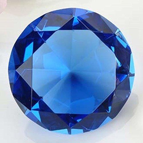 (120mm Translucent Cobalt Blue Diamond Cut K9 Crystal Paperweight Decor)