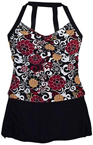 f87bf34df8e Simply Fit Women s Plus Size H Back Tankini Swim Skirt Swimsuit Set (18 20
