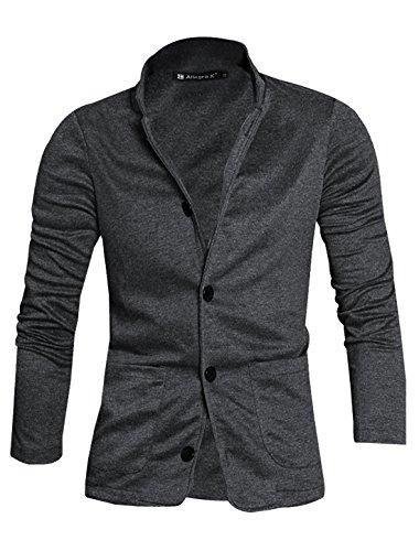 Allegra K Men Turn Down Slim Fit Collar Single Breasted Long Sleeves Knit Blazer Dark Gray M US 40