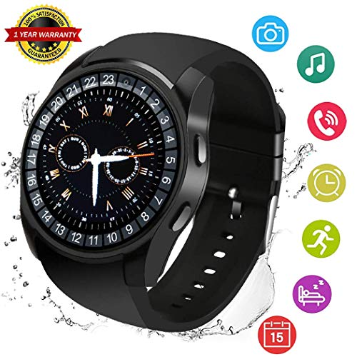 Smart Watch Bluetooth Smart Wrist Watch Smartwatch Phone Fitness Tracker SIM SD Card Slot Camera Pedometer Compatible with iPhone iOS Android Samsung S10 S9 S8 S7 Edge Note 8 LG for Women Men Kids