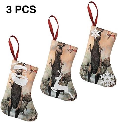 クリスマスの日の靴下 (ソックス3個)クリスマスデコレーションソックス 恐竜 クリスマス、ハロウィン 家庭用、ショッピングモール用、お祝いの雰囲気を加える 人気を高める、販売、プロモーション、年次式