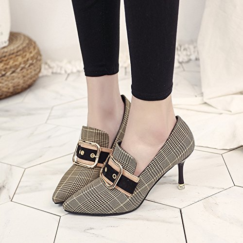 39 Shoes Fibbia cintura della Girl Cat Thin Simple Moda With Grid Its Shoes Tip Track yalanshop The wzXF0xqza