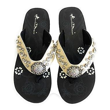f0e1f44ec1b6de Montana West Womens Flip Flops Shiny Straps AB Crystals Floral Concho  Beige