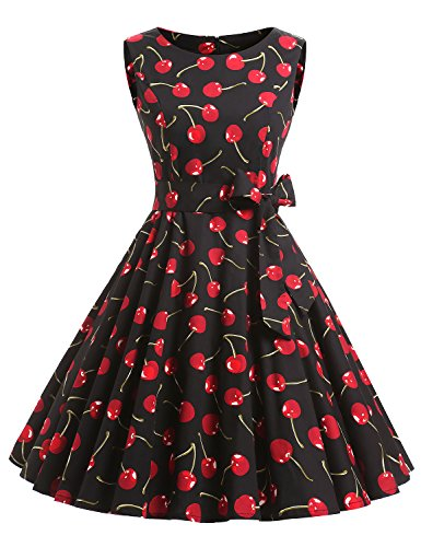 VKStar - Vestido - para mujer cereza negra